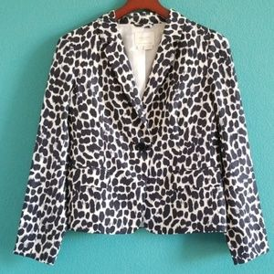 {Kate Spade} Black Spot Animal Print Button Blazer